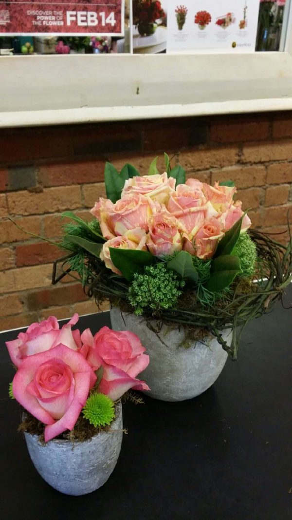Two pink roses bouquet in a pot