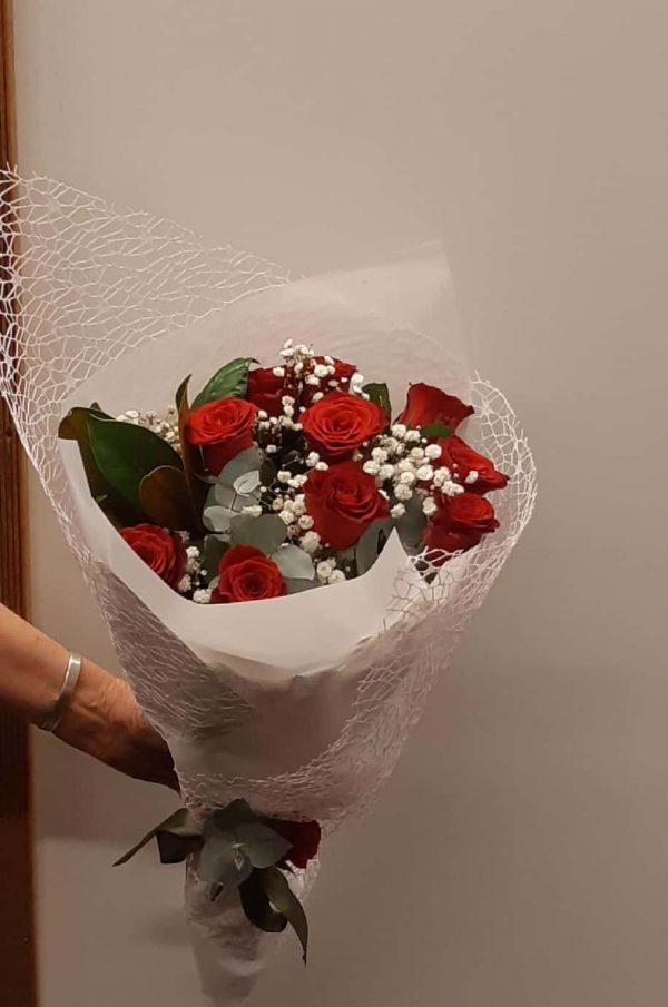 Red Roses in a White Wrap