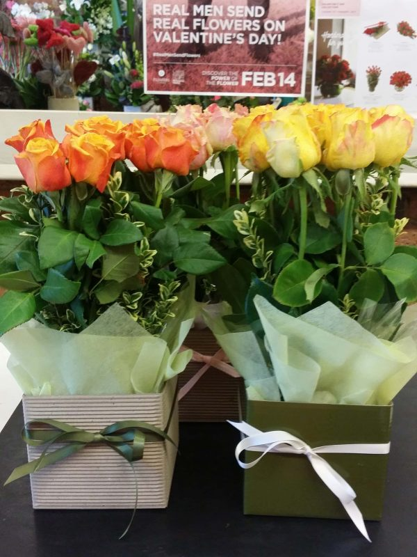 Yellow and Orange Roses in a Box