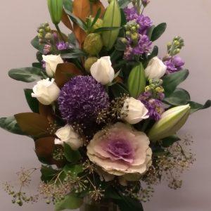 Lavender and White Rose Arrangement